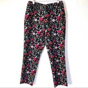 Cynthia Rowley Black Floral Stretch Career Pants